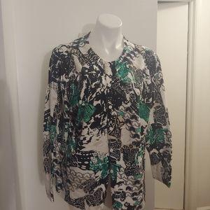 Cj banks green, black & white cardigan
